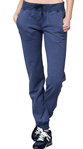 Designer Jogginghose Damen mit Darling Print hinten by Sassyclassy | Sporthose in Blau | M-L | Mit 2 Taschen, elastischem Bund & Kordelzug | Sportliche Sweatpants aus Jersey | Tanzhose & Sleepwear (Tasche Unten)