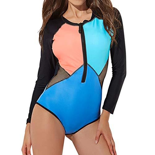 MOTOCO Sommer Damen Badeanzug Oversize Bademode Bauchweg Sportlich Push Up figurformend Bandeau große Größen Rückfrei S/M/L/XL/XXL(M(36),Blau)