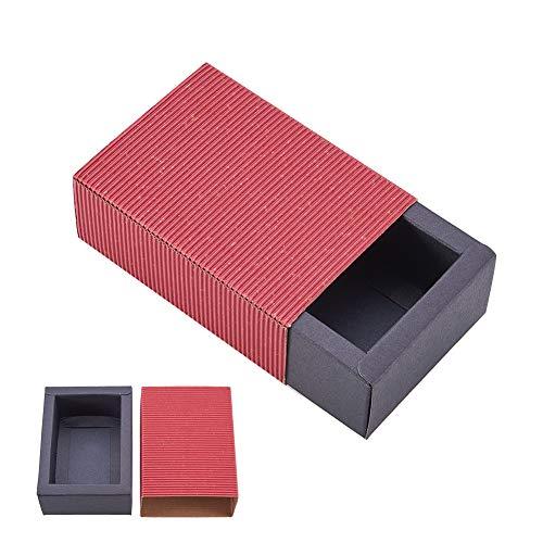 BENECREAT 20 Pack Kraftpapier Schublade Box Festival Geschenkverpackung Kasten Seife Schmuck Candy Jaten Partei Gefalligkeiten Geschenkverpackungen Boxen - Rot & Schwarz (11,2x8,2x4,2 cm) (Candy Rot Schwarz Und)