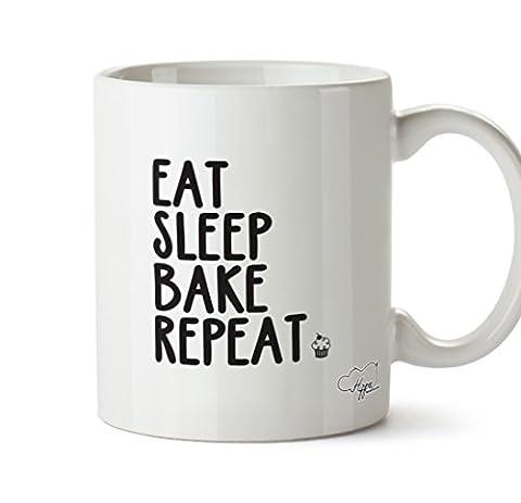 Hippowarehouse Eat Sleep Bake Repeat 283,5gram Mug Cup, Céramique, blanc,