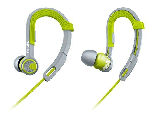 Philips SHQ3300LF/00 ActionFit Sportkopfhörer (wasserfest, Kabel-Clip und Aufbewahrungstasche) Ear-Clip grau/grün (In-ear-kopfhörer Mit Ear Clips)
