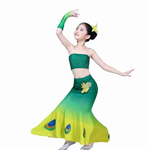 Ethnischen Kostüm Kinder - ZYLL Kinder Dai Tanzkleidung Mädchen Zeigen Kleidung Kinder Junge Kinder ethnischen Dai Peacock Kostüme,150CM