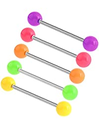 10 Pieces Set of UV Watermelon Ball with 16 Gauge Bio Flexible Circular Barbell Body Jewelry