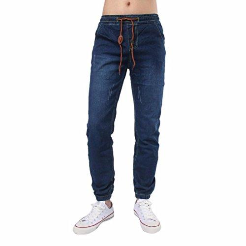 Herren Jeans FORH Männer Vintage skinny jeans Bequem Tunnelzug Denim Pants Slim Fit Jogginghosen Trainingshose Fitnesshose Freizeit Sweatpants (Marine blau, M)