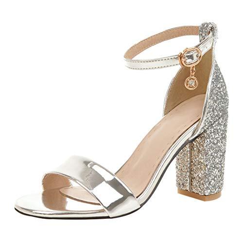 Artfaerie Damen Glitzer High Heel Sandalen Blockabsatz mit Knöchelriemchen und 8cm Absatz Sommer Sandaletten (EU 39,Silber) (Silber High Heels Für Mädchen)