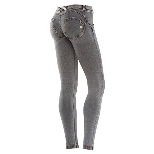 Freddy WR.UP Damen Pushup Denim - Low Waist Skinny mit Denim Effekt - J3Y - Washed grau (Grey/ Yellow Stitching) M (Tights Denim-shorts)