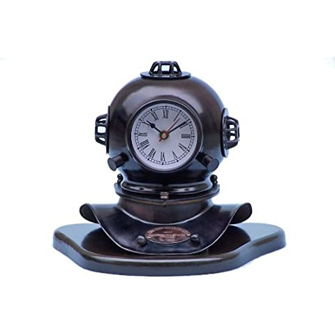Iron Divers Helmet Clock on Wood Base 8 Old Fashioned Diving Helmet - Brand New by Handcrafted Model