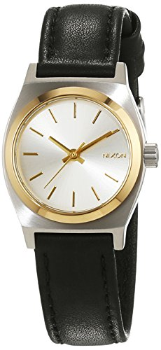 Nixon Damen-Armbanduhr Small Time Teller Silver/Gold/Black Analog Quarz Leder A5091884-00 (Nixon-armbanduhr Small Time Teller)