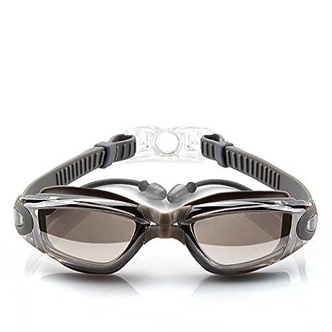 QER-Flat myopia Schwimmbrille wasserdichte und nebelschwimmende Gläser, silber Schwimmbrille