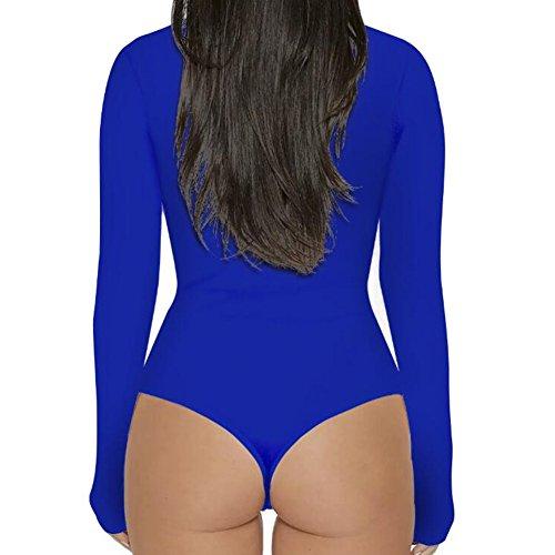 Maglietta a maniche lunghe in manica lunga con maniche corte in elastico da donna Highdas Blu reale
