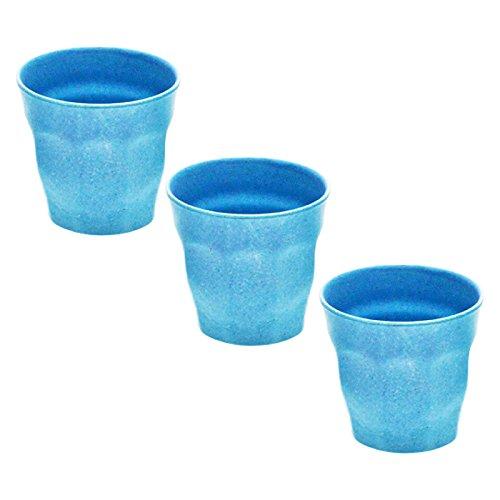 3er Set Magu Trinkbecher Picardie klein ca. 120 ml blau Bambus Natur-Design, Becher Kaffeebecher...