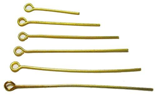 GOLD 3cm 500 Stk KETTELSTIFTE NADEL NIETSTIFTE ZUBEHÖR KOPFSTIFT METALL mit öse M319