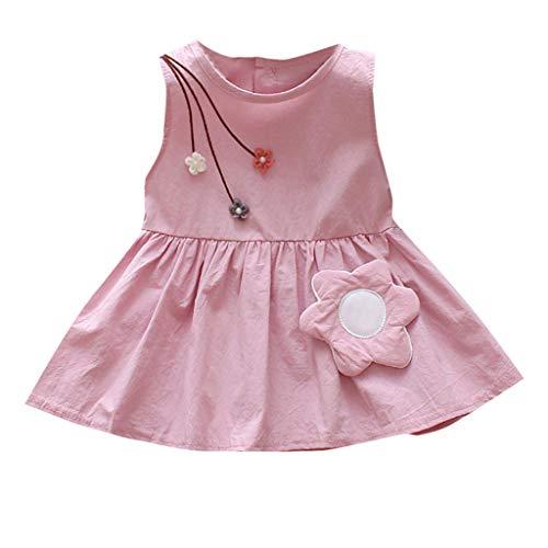 JUTOO Neugeborenes Kleinkind-Kind-Baby-Mädchen-Sleeveless beiläufige Blumen-Prinzessin Dress Sundress Clothes (Rosa,100/XL)