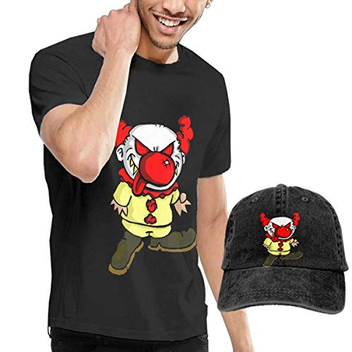 Herren Kurzarmshirt,T-Stücke,Clown Clipart Scary Short Sleeve T-Shirts Black (with A Cap) ComfortSoft Man's T Shirts Graphic Funny Round Neck Tee Basketball Hats Combination
