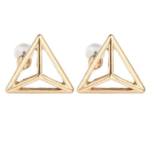 PiercingJ - 2PCS Anneau Clou Bocule d'Oreille Cartilage Triangle Creux Alliage Elegant Charmant Bijoux de Corps Cadeau Or
