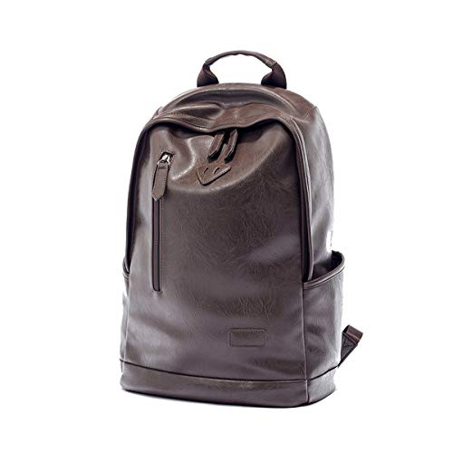 (Yslin Business Rucksack Herren Groß Backpack Vintage Casual Schulrucksack Rucksäcke Laptop PU Leder Laptoprucksack 14 Zoll (Braun))