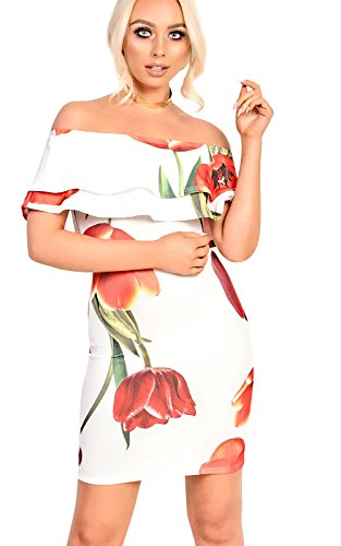 Womens Ladies Bardot Midi Floral Dress White