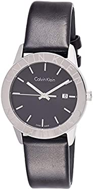Calvin Klein K7Q211C1 Womens Quartz Watch, Analog Display and Leather Strap - Black