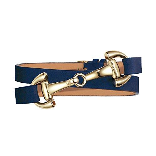 Trensen-Armband | DIMACCI | Favorit Kollektion | Schmuck für Reiterinnen | Geschenkidee für Pferdeliebhaber | Reiter-Schmuck (Blau, Edelstahl vergoldet)