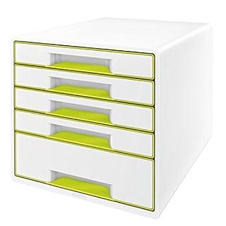 Leitz 52142064 WOW CUBE Schubladenbox, 5 Schubladen, grün metallic
