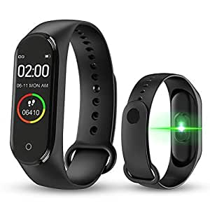 Junaldo M4 Smart Bracelet Fitness Band with Having Many Functions, Like BP, Step Count, Pedometer, Heart Rate Sensor, for Kids Men Women (M4 Black)