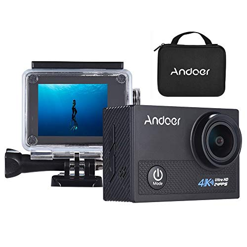"""Andoer AN5000 4K Action Kamera 24fps WiFi Action Cam 20MP 1080P 60fps Anti-Shake 5X Zoom 2 \""""LCD Bildschirm Wasserdicht 30m 170 ° Weitwinkel Objektiv Auto DVR Camcorder mit Tragetasche"""