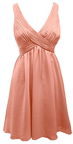 MACloth Elegant Short Bridesmaid Dress Straps V Neck Chiffon Wedding Party Gown (EU34, Koralle)