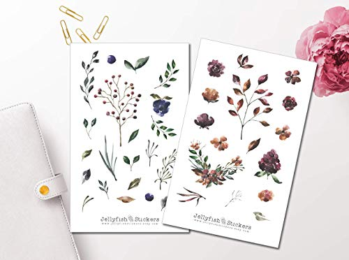 Aquarell Flowers Sticker Set | Blumen Aufkleber | Journal Sticker