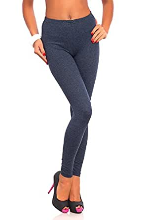 FUTURO FASHION Women's Full Length Cotton Leggings Soft, Plus Sizes Denim 24