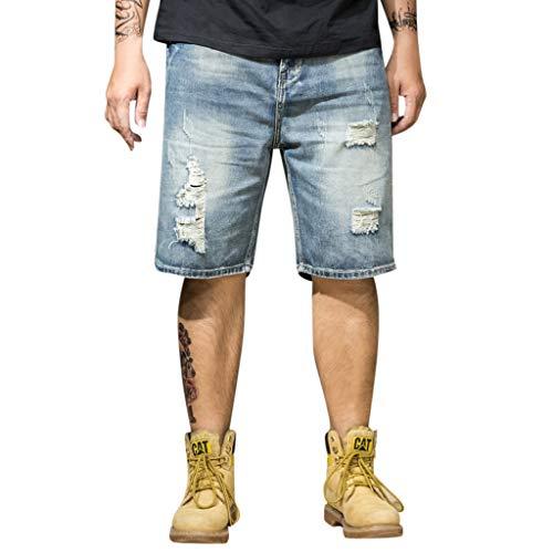 mxjeeio Männer Jeans-Shorts Männer Große Shorts Herrenmode Loch großen Code Jogginghose Fitness für Männer im Sommer zum Joggen am Strand
