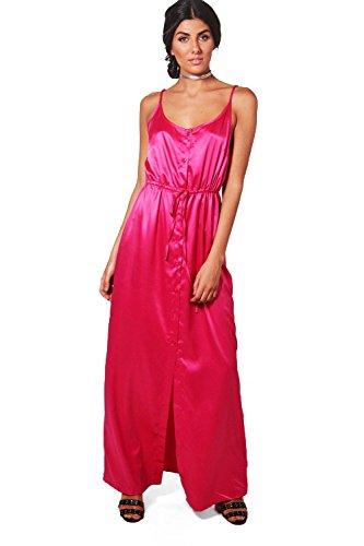 Damen Magenta Pink Suzie Maxikleid In Satinoptik Mit Schmalen Trägern Und Knöpfen  Magenta Pink