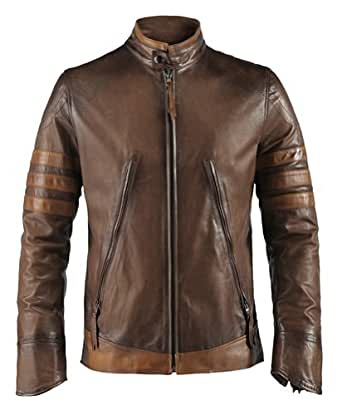 """X-Men Origins Mens Leather Jacket Made in Italy (L (40""""-42""""), Antique Brown)"""