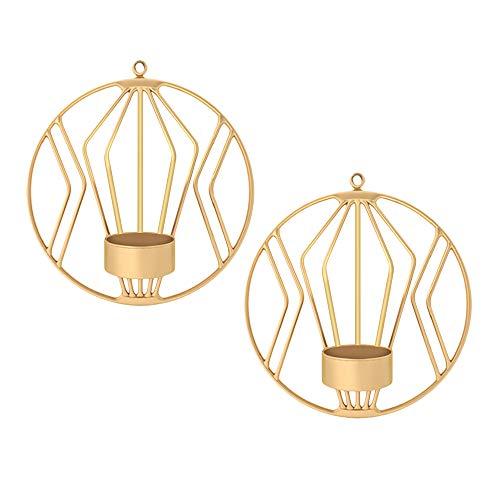 nhalter Metall geometrische Wand montiert Kerzenhalter für Wohnzimmer Hochzeit Schlafzimmer Dekor (Gold) ()