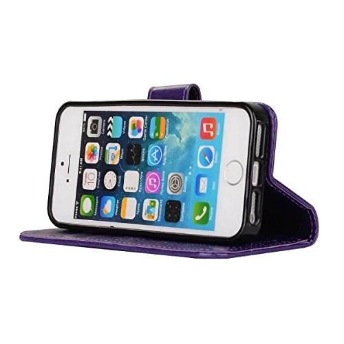 Abnehmbare 2 in 1 Crazy Horse Texture PU Ledertasche, Fairy Girl Embossed Pattern Flip Stand Case Tasche mit Lanyard & Card Cash Slots für iPhone 5s & SE ( Color : Black ) Purple