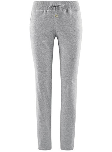 oodji Ultra Damen Jersey-Hose mit Bindebändern Grau (2000M)
