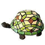 JXJ Tiffany-Stil Nachtlicht, Schildkröte Form Handgemachte Licht E14 Lampe Gusseisen Basis Kinder Nachtlicht