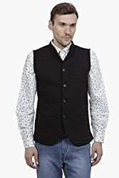 Hypernation Black Color Cotton Nehru Jacket