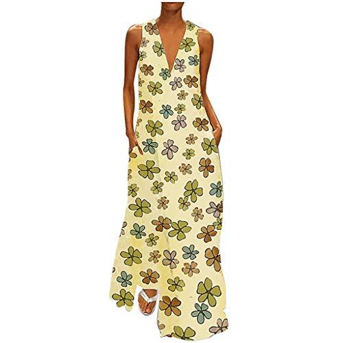 iYmitz Damen Vintage Maxikleid Daily Casual ärmellose Gestreifte Schmetterling Gedruckt Sommerkleid(X8-Gelb,EU-38/CN-XL) - Glamour Satin Brautkleid
