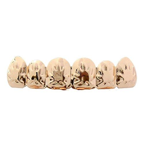 uster Oberseite Unterseite Zähne Hip Hop Fake Zähne Weihnachten Halloween Rose Gold Ahornblatt Top (Gefälschte Gold Zähne Halloween)