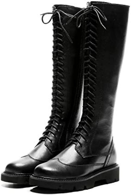 HOESCZS Bottes Martin Martin Martin Boots Cross Straps Martin Boots Thick   High Boots Side Zipper Knight Boots Long Boots...B07K1PN2PNParent 8e5c59