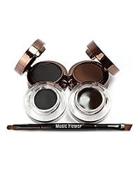Ucanbe 4 in 1 Brown Black Gel Eyeliner and Eyebrow Powder Water-proof Makeup Cosmetics Set