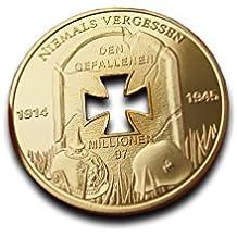 Chapado en oro Alemania aniversario moneda conmemorativa 1914–1945Alemania Guerra Mundial 1y 2
