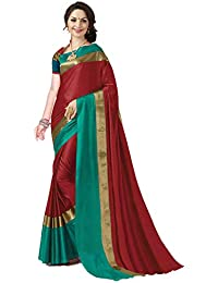 ANNI DESIGNER Indian Women's Cotton Silk Festive Saree with Blouse Piece(Pradip_TD_Candy Apple_FBA_Red & Green_Free Size)