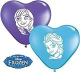 Disney Die Eiskönigin Anna & Elsa Gesichter 15.2cm Herzförmig Qualatex Latexballons x 10