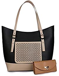 Women Marks Pu Leather Women's Shoulder Bag - Black & Cream (Ship) Combo -Nsb1029