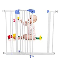Baby Children Safety Gate Door Auto Close Swing Shut Stair Fence Pet Protection High and Wide Pressure Fit Safety Gate Ideal None Screw Stable and Durable Protective Safety Gate for Babies or Pets