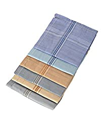 Oshop Trades Assorted Design Multicolour Pack of 6 Handkerchief for Men