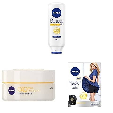 NIVEA Hautstraffende In-Dusch Body Lotion Q10, 1er Pack (1 x 400 ml), NIVEA Visage Q10 Plus Anti-Falten Tagespflege, Gesichtspflege, 1er Pack (1 x 50 ml), NIVEA Q10 Shorty S-M, Straffende + formende Shorts, Shapewear, 1er