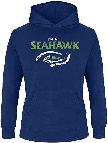 EZYshirt® I´am a Seahawk vol. 2 | American Football Kinder Hoodie | Kinder Kapuzenpullover | Kinder Pullover (Niners Sweatshirt)