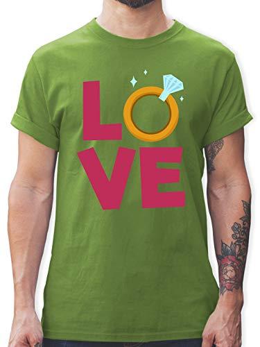 Kostüm Verlobungsringe - Hochzeit - Love Verlobungsring - XXL - Hellgrün - L190 - Herren T-Shirt und Männer Tshirt